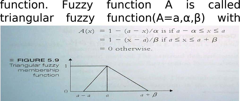 function. Fuzzy function A is called triangular fuzzy function(A=a,α,β) with peak a, left width α>0 and