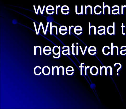 were uncharged. uncharged. Where Where had had the the negative negative charges charges come come from?