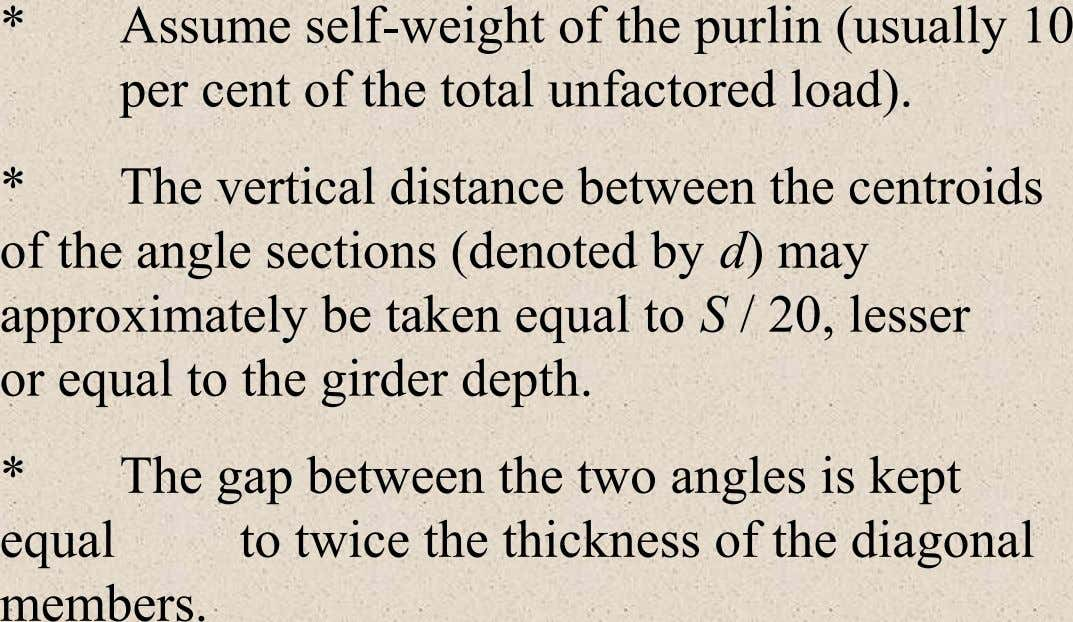 * Assume self-weight of the purlin (usually 10 per cent of the total unfactored load). *
