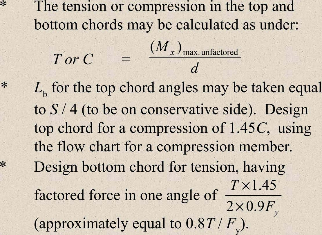 * The tension or compression in the top and bottom chords may be calculated as under: