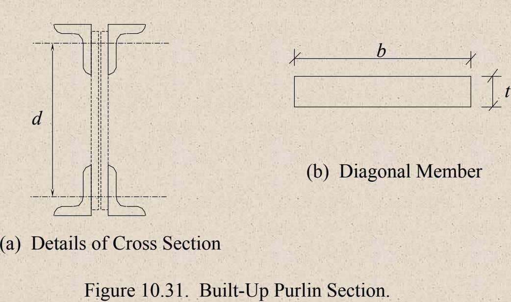 b t d (b) Diagonal Member (a) Details of Cross Section Figure 10.31. Built-Up Purlin Section.