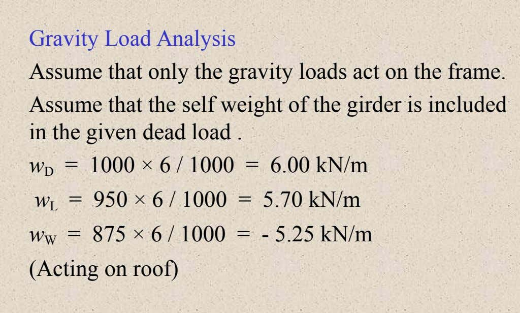 Gravity Load Analysis Assume that only the gravity loads act on the frame. Assume that the