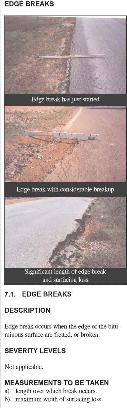 EDGE BREAKS Edge break has just started Edge break with considerable breakup Significant length of