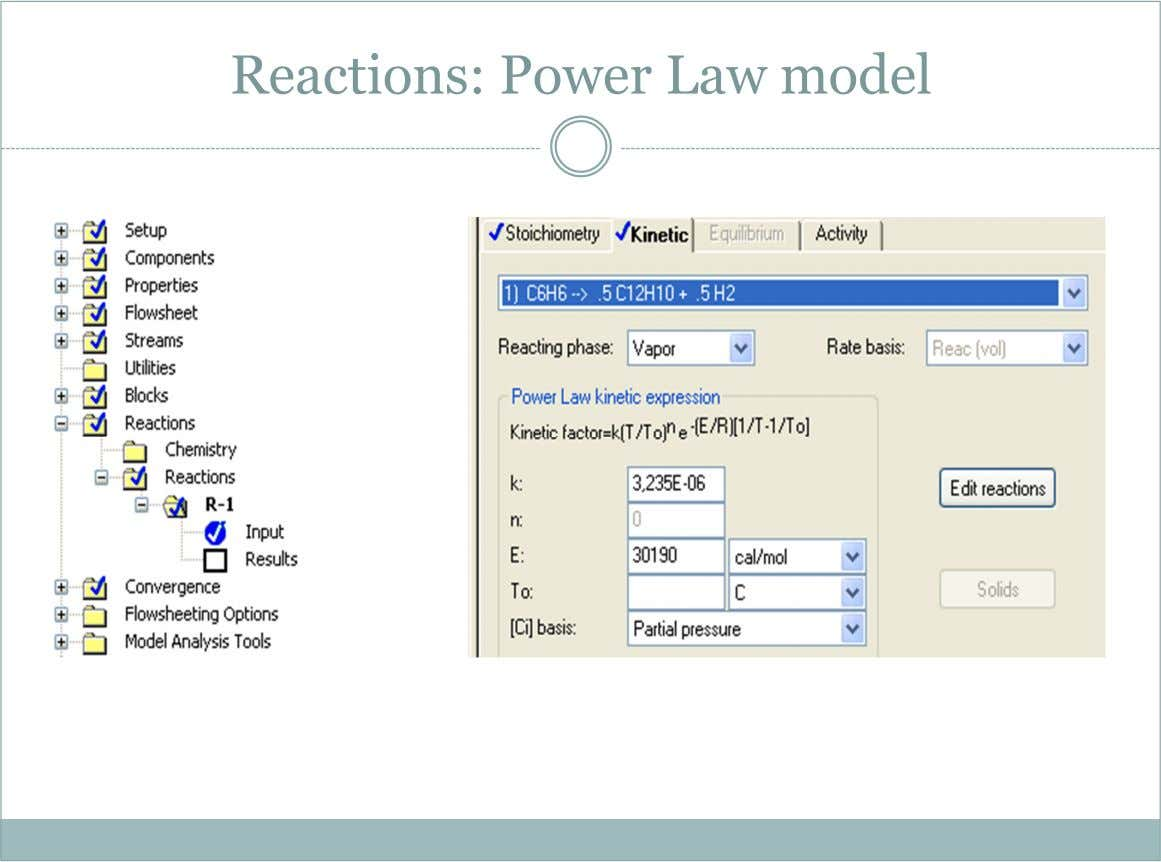 Reactions: Power Law model           