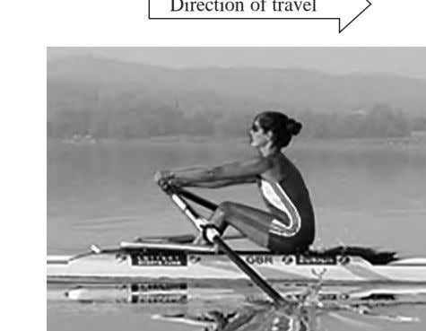 of each oar exerts a force on the water. Direction of travel *(a) At the start