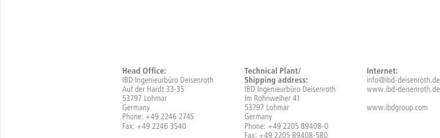 Head Of ce: Internet: IBD Ingenieurbüro Deisenroth Auf der Hardt 33-35 53797 Lohmar Germany Phone: