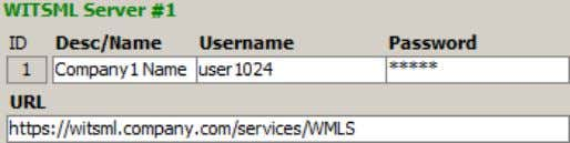 Enter the WITSML server reference name for SES internal use, along with the appropriate username,