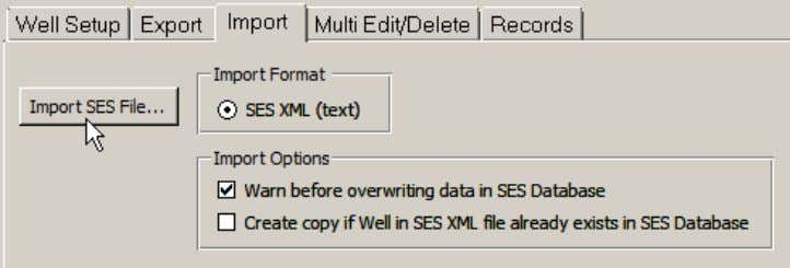 xml file created with the Export feature into SES Database. button to browse and select an