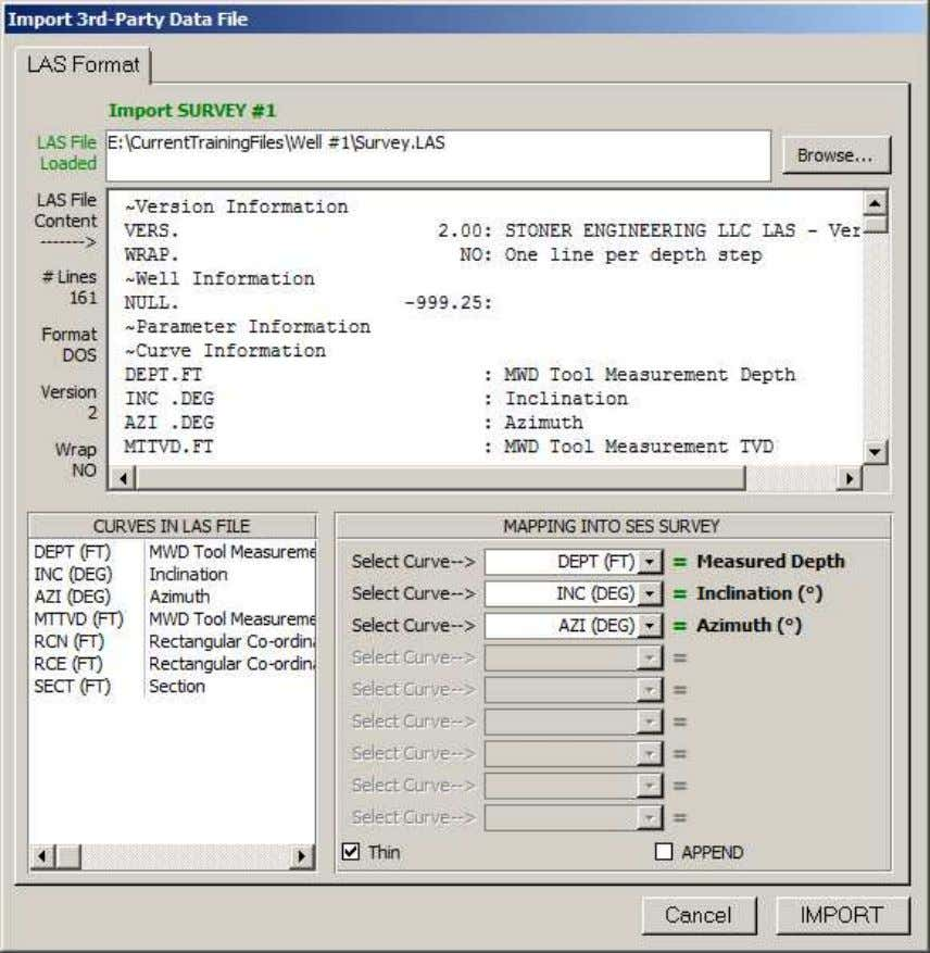 SES v5.11 Enter the path and filename of the LAS file to load for processing; or,