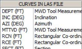 data curve descriptions. This textbox displays a listing of all data curves in the LAS