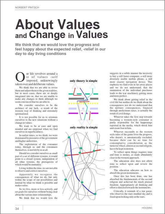 NORBERT PINTSCH About Values and Change in Values We think that we would love the