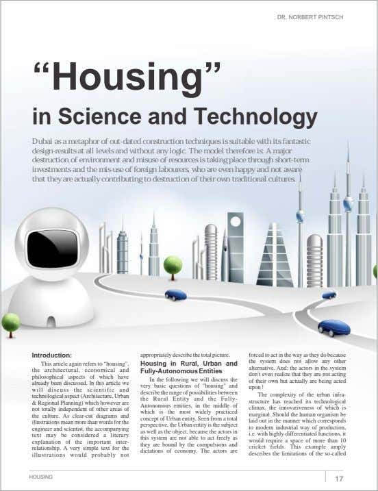 "DR. NORBERT PINTSCH ""Housing"" in Science and Technology Dubai as a metaphor of out-dated construction"