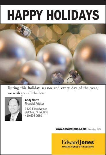 Andy North Financial Advisor . 1122 Elida Avenue Delphos, OH 45833 419-695-0660