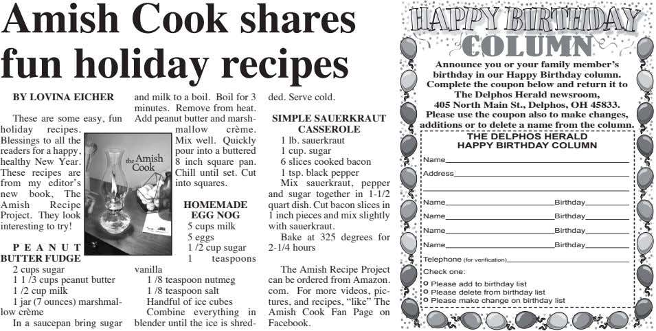 Amish Cook shares fun holiday recipes COLUMN BY LOVINA EICHER These are some easy, fun holiday