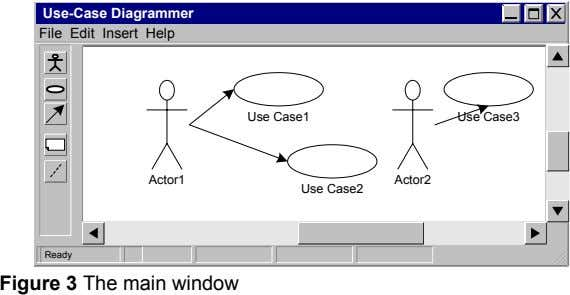 Use-Case Diagrammer File Edit Insert Help Use Case1 Use Case3 Actor1 Actor2 Use Case2 Ready