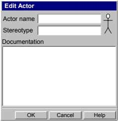 Edit Actor Actor name Stereotype Documentation OK Cancel Help