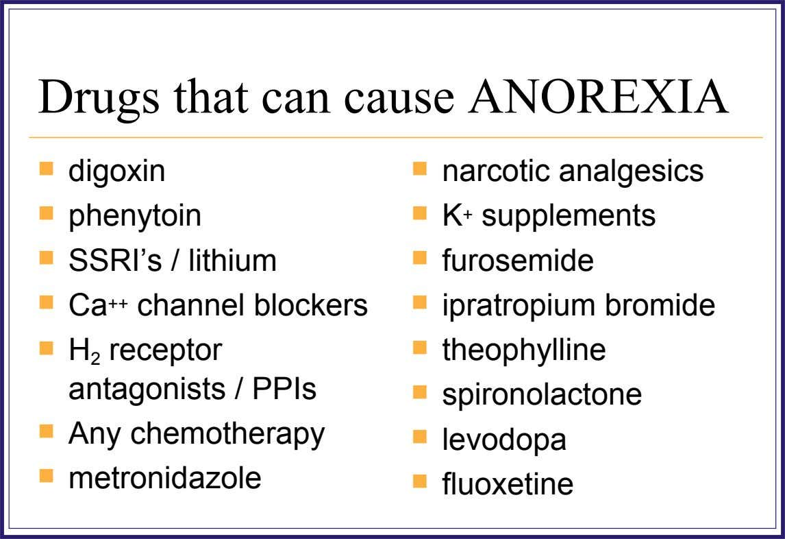 Drugs that can cause ANOREXIA  digoxin  narcotic analgesics  phenytoin  K + supplements