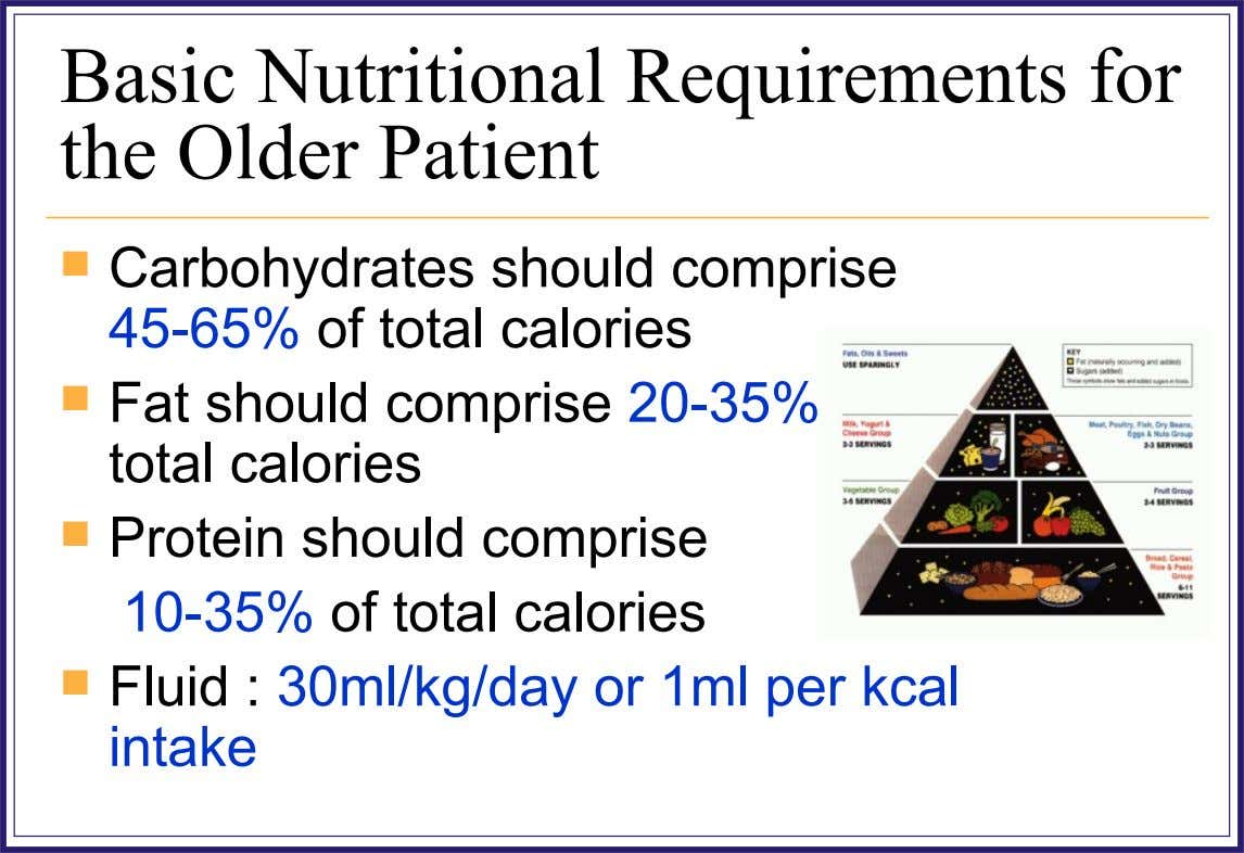 Basic Nutritional Requirements for the Older Patient  Carbohydrates should comprise 45-65% of total calories 