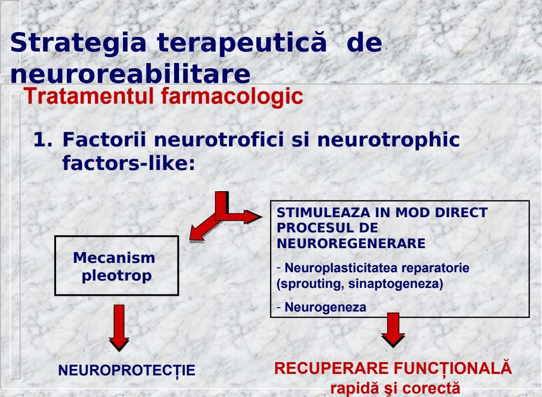 Strategia terapeutică de neuroreabilitare Tratamentul farmacologic 1. Factorii neurotrofici si neurotrophic factors-like: STIMULEAZA IN MOD DIRECT