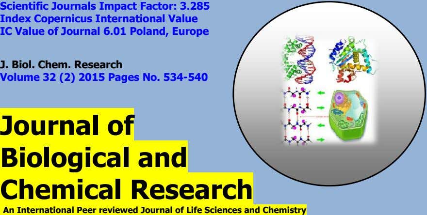 J. Biol. Chem. Research Volume 32 (2) 2015 Pages No. 534-540 Journal of Biological and