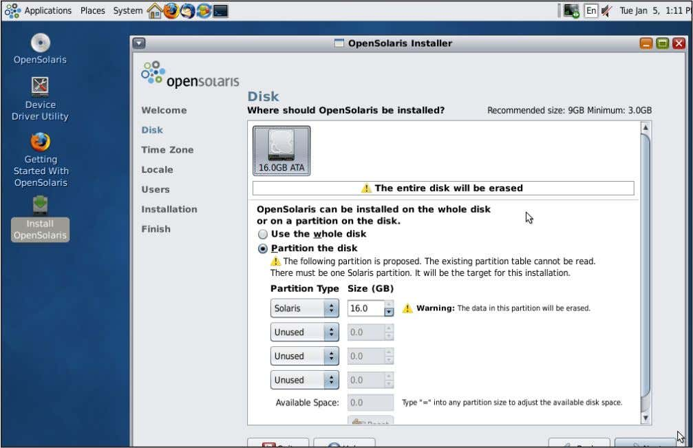 2 Installation Select the Partition On Which You Would Like to Install OpenSolaris 2009.06 2.3 Installation