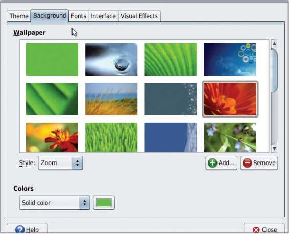 or configure the 3D effects from the Visual Effects tab. The OpenSolaris Desktop Appearance Preference Window