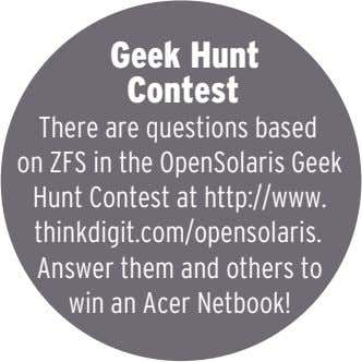 Geek Hunt Contest There are questions based on ZFS in the OpenSolaris Geek Hunt Contest
