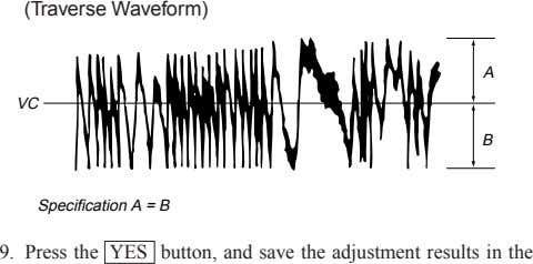 (Traverse Waveform) A VC B Specification A = B 9. Press the YES button, and