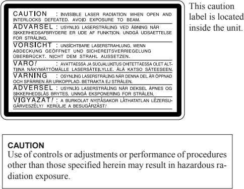 This caution label is located inside the unit. CAUTION Use of controls or adjustments or