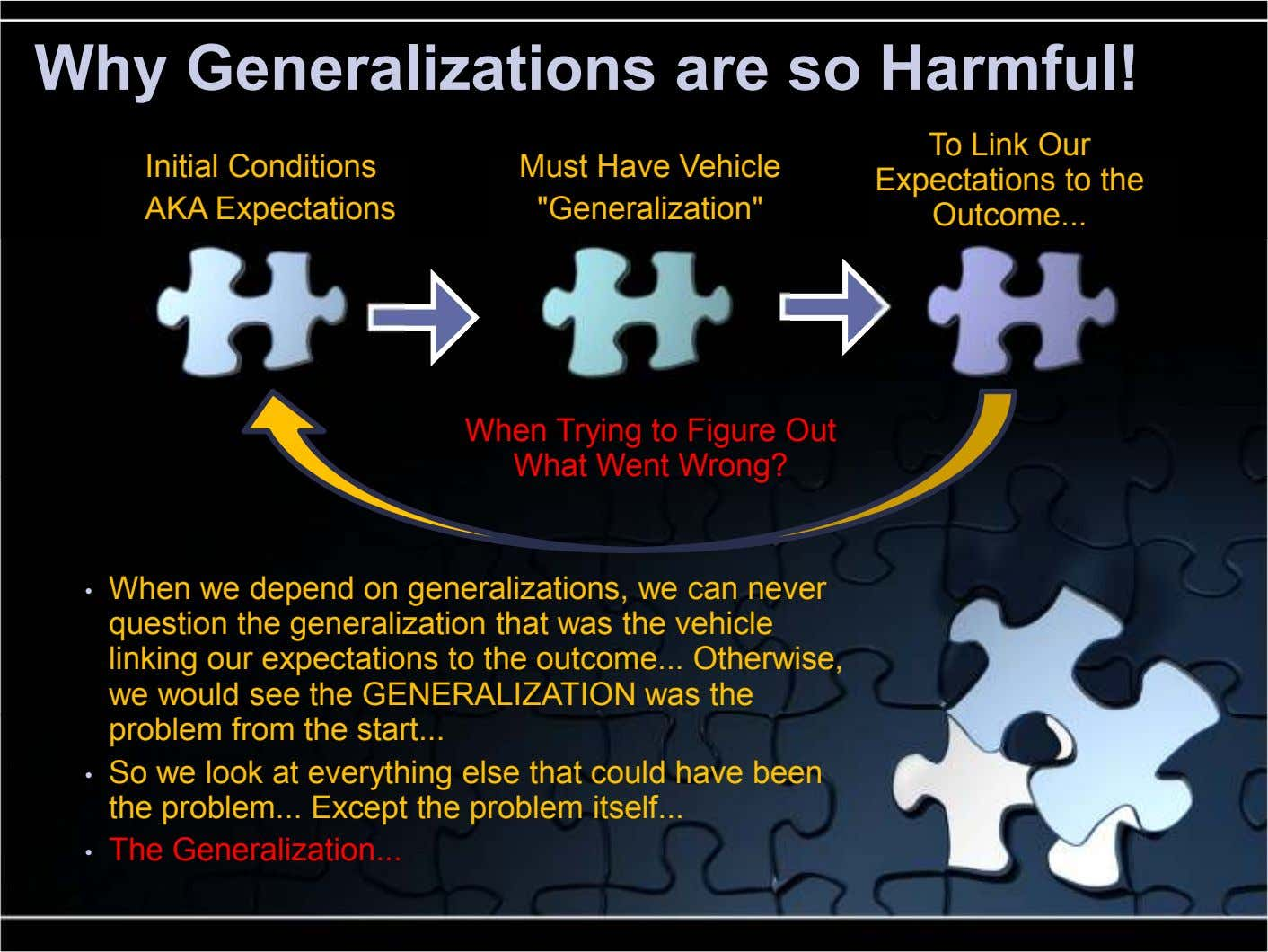 "Why Generalizations are so Harmful! Initial Conditions AKA Expectations Must Have Vehicle ""Generalization"" To Link Our"