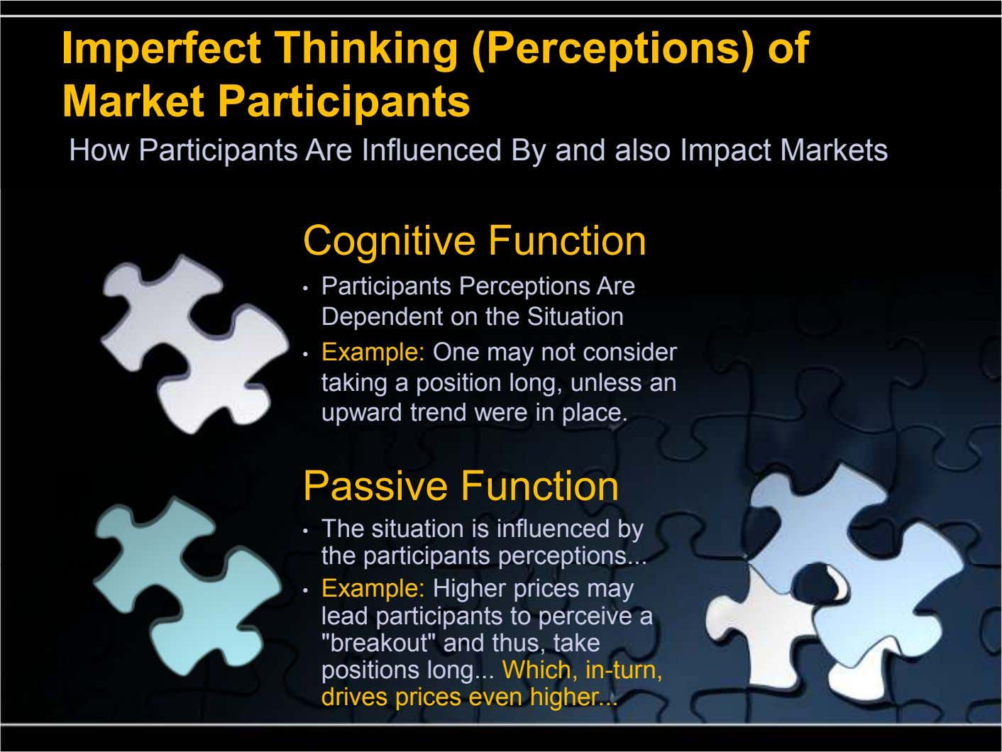Imperfect Thinking (Perceptions) of Market Participants How Participants Are Influenced By and also Impact Markets Cognitive