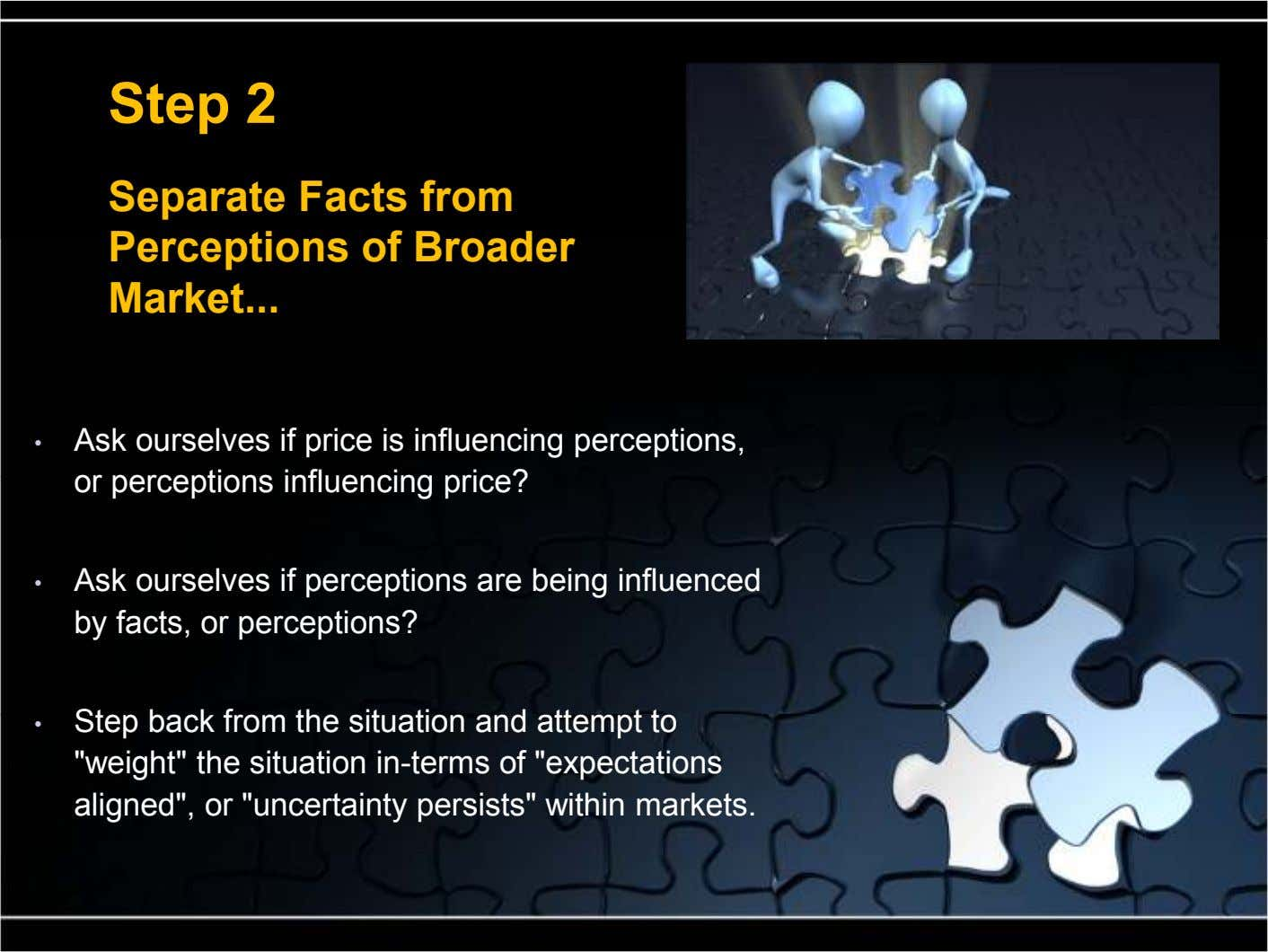 Step 2 Separate Facts from Perceptions of Broader Market ... • Ask ourselves if price is