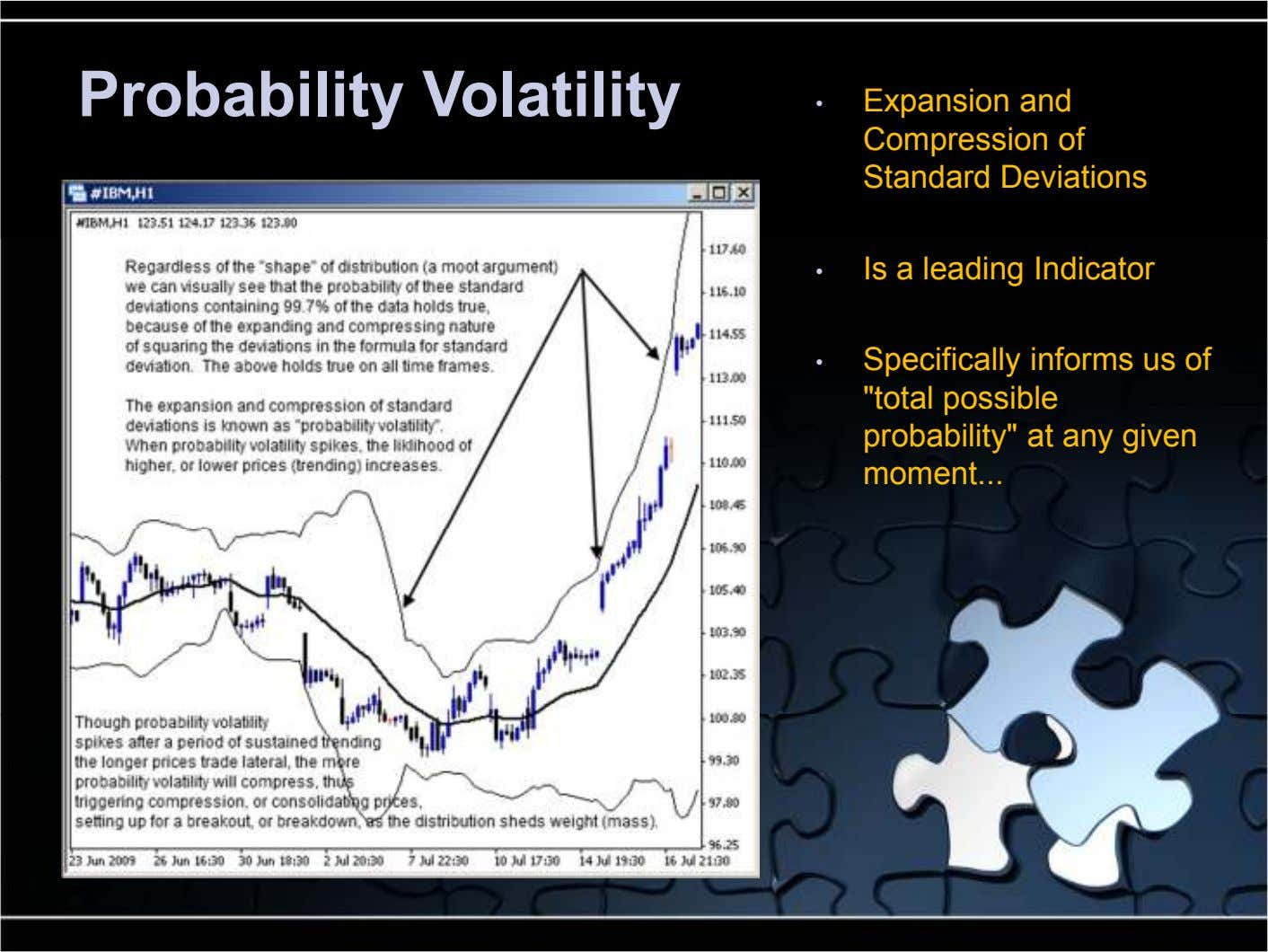 Probability Volatility • Expansion and Compression of Standard Deviations • Is a leading Indicator • Specifically