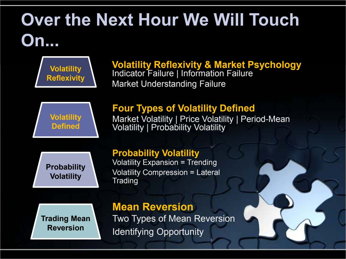 Over the Next Hour We Will Touch On ... Volatility Reflexivity & Market Psychology Volatility Reflexivity