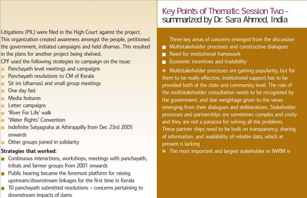 Key Points of Thematic Session Two - summarized by Dr. Sara Ahmed, India Litigations (PIL)