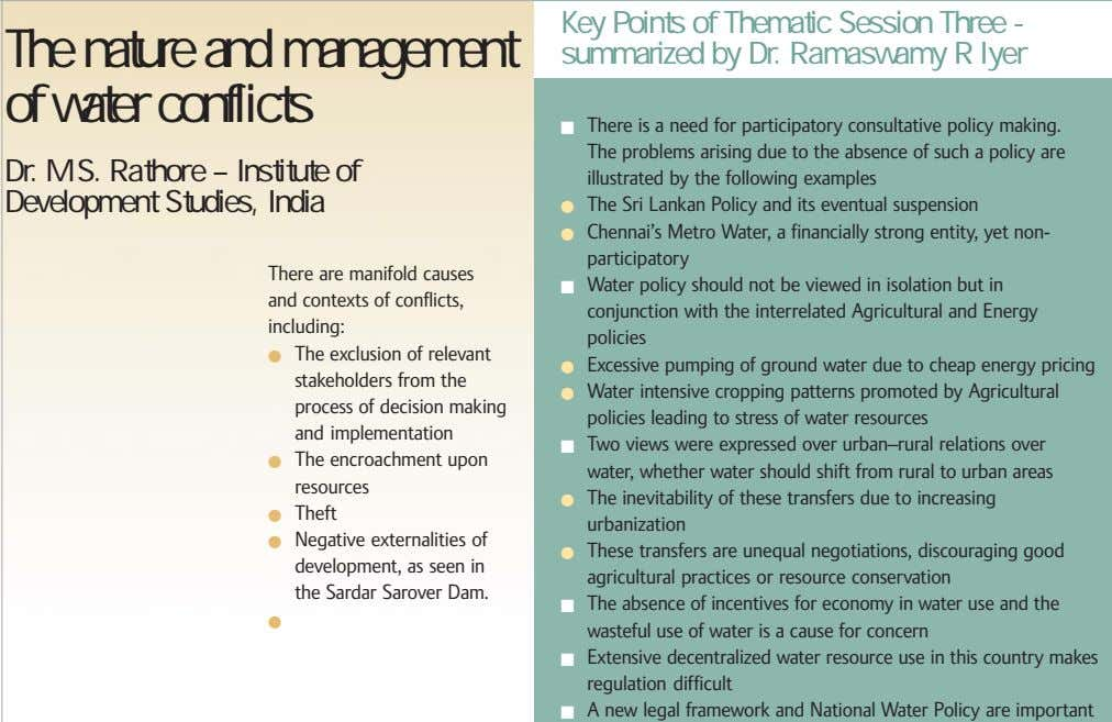 The nature and management of water conflicts Key Points of Thematic Session Three - summarized
