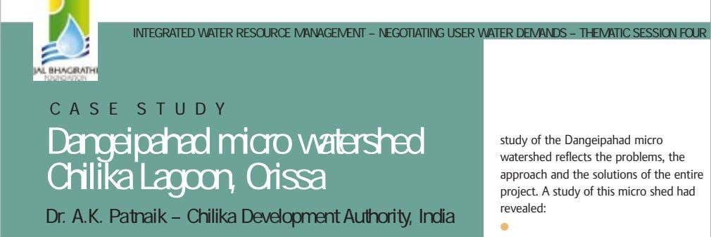 INTEGRATED WATER RESOURCE MANAGEMENT – NEGOTIATING USER WATER DEMANDS – THEMATIC SESSION FOUR C A