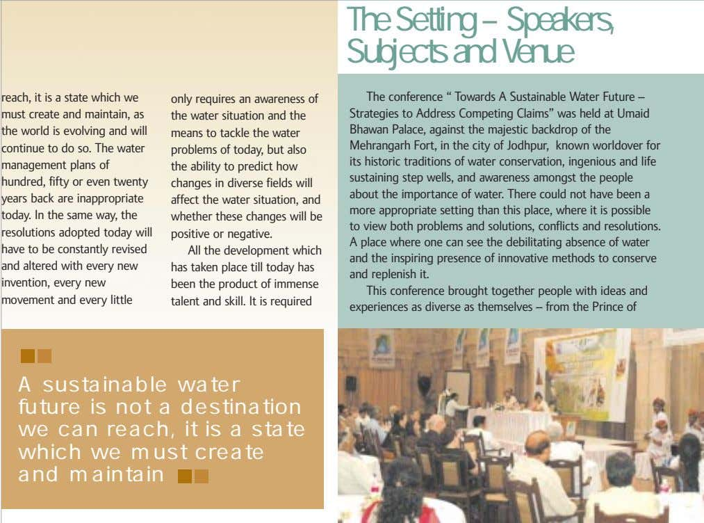 The Setting – Speakers, Subjects and Venue reach, it is a state which we must