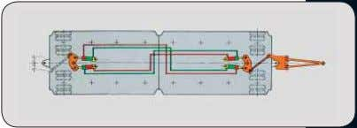 The electronic steering synchronisation enables a central turning point independently of the position of the modules.