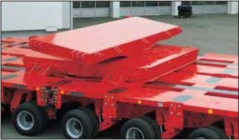 high girder bridges. The long load equipment is supported on ball and socket joints and sliding