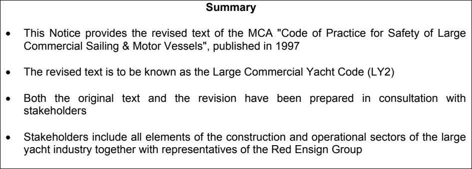 "Summary • This Notice provides the revised text of the MCA ""Code of Practice for"