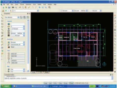 "DraftSight and open the file named ""Plan_1F.dwg"". 2. Draw the lines to represent the new level"