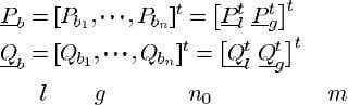 power th bus via transmission lines. Then (1) (2) Define where subscripts and refer to -vectors