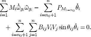 (6) we obtain i.e., Sum (24) over the machine equations Sum (25) over the real power