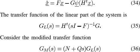 (34) The transfer function of the linear part of the system is (35) Consider the