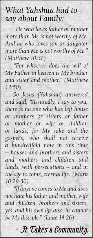 "What Yahshua had to and idolaters say about Family: and all liars, their ""He part"
