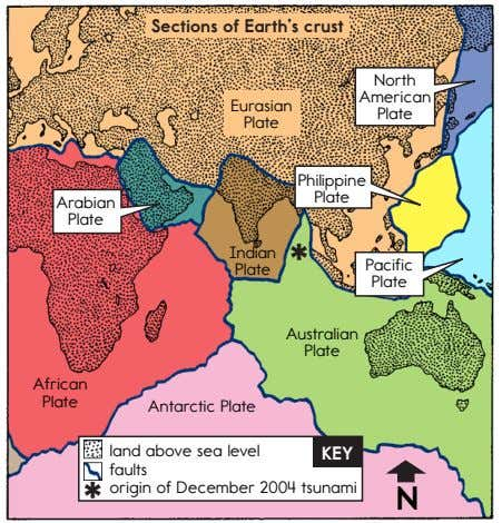 Sections of Earth's crust North American Eurasian Plate Plate Philippine Plate Arabian Plate Indian *