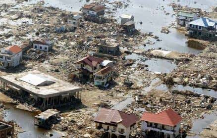 The 2004 Indian Ocean tsunami washed away much of Banda Aceh, Indonesia. The Indian Ocean