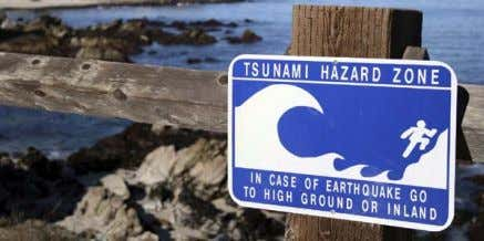 are the only true safe places to go when a tsunami hits. Signs, such as this