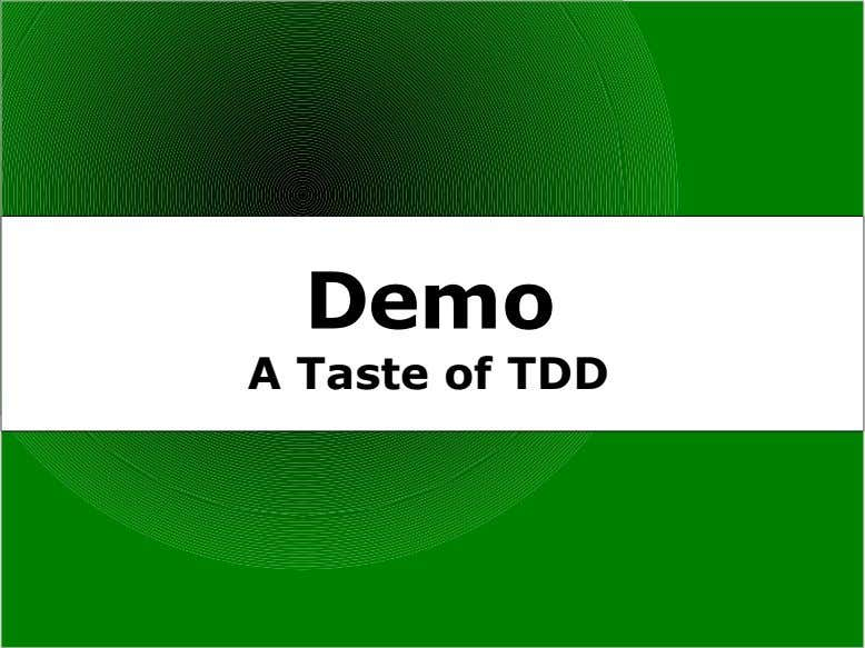 Demo A Taste of TDD